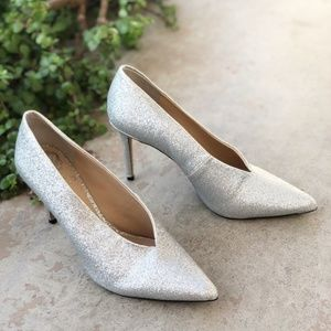 Vince Camuto Ankia Silver Glitter Heels Pumps